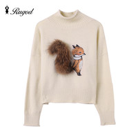 Cashmere Sweater Women Winter Sweaters and Pullovers Fox with Real Fur Tail Pull Femme Manche Longue 2016 Christmas Sudaderas