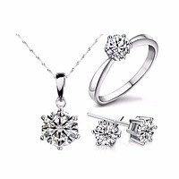 Silver Color Fashion Jewelry Sets Cubic Zircon Statement Necklace & Earrings Rings Jewelry Set