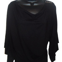 Black Wide Sleeved Batwing Off Shoulder Kimono Basics Top with Silver Studs Womens Extra Large