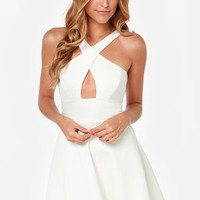 Cross Over Backless Ivory Dress