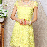 Bright Yellow Lace Dress with Translucent Neck and Back - Mini Dress 50