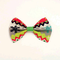Ugly Sweater Bow • Holiday Sweater Bow • Christmas Sweater Bow • Gifts for women • Gifts for girls •  Ugly Sweater Gift •  Snowflake Bow