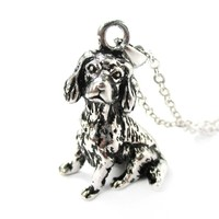 Realistic King Charles Spaniel Shaped Animal Pendant Necklace in Shiny Silver