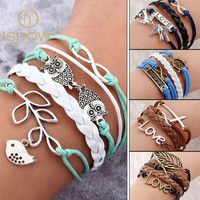 Vintage Bird Tree Owls Infinity Anchors Rudder Rope Bracelet Wrap Leather Bracelet Multilayer