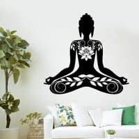 Buddha Meditation Mantra Zen Yoga Vinyl Decal Gym Home Decals PVC Wall stickers Art wallpaper  Bedroom Wall D264