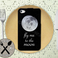 Fly Me To The Moon Stars Space Frank Sinatra Quote Cool Custom Rubber Tough Phone Case For The iPhone 4 and 4s and iPhone 5 and 5s and 5c