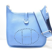HERMES Evelyn 3PM Shoulder Bag Clemence Leather Blue Paradice
