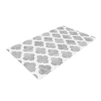 "Amanda Lane ""Gray Moroccan"" Grey White Woven Area Rug"