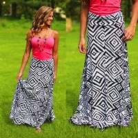 Geo-ing With You Maxi Skirt