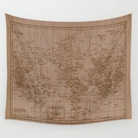 Wood Grain World Map Tapestry Wall hanging - aged map print, beautiful, historic, brown map, atlas, den, office, dorm