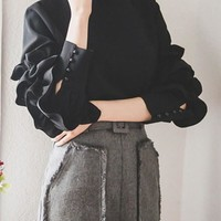 Black Ruffle Buttons Cut Out Off Shoulder Band Collar Long Sleeve Blouse