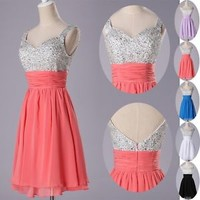 Short Graduation dress Prom gown Beaded Bridesmaid dresses Party Cocktail dress