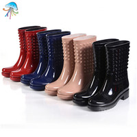 Rivets Type Women's Waterproof Rainboots Ladies Mid-Calf Rain Boots Fashion Style Flat Heels Water Shoes botas lluvia mujer