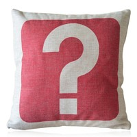 ZLP Question Mark Cotton and Linen Pillow Color Red