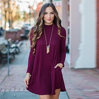 Sweater Winter Long Sleeve Plus Size With Pocket Women's Fashion One Piece Dress [11405244303]