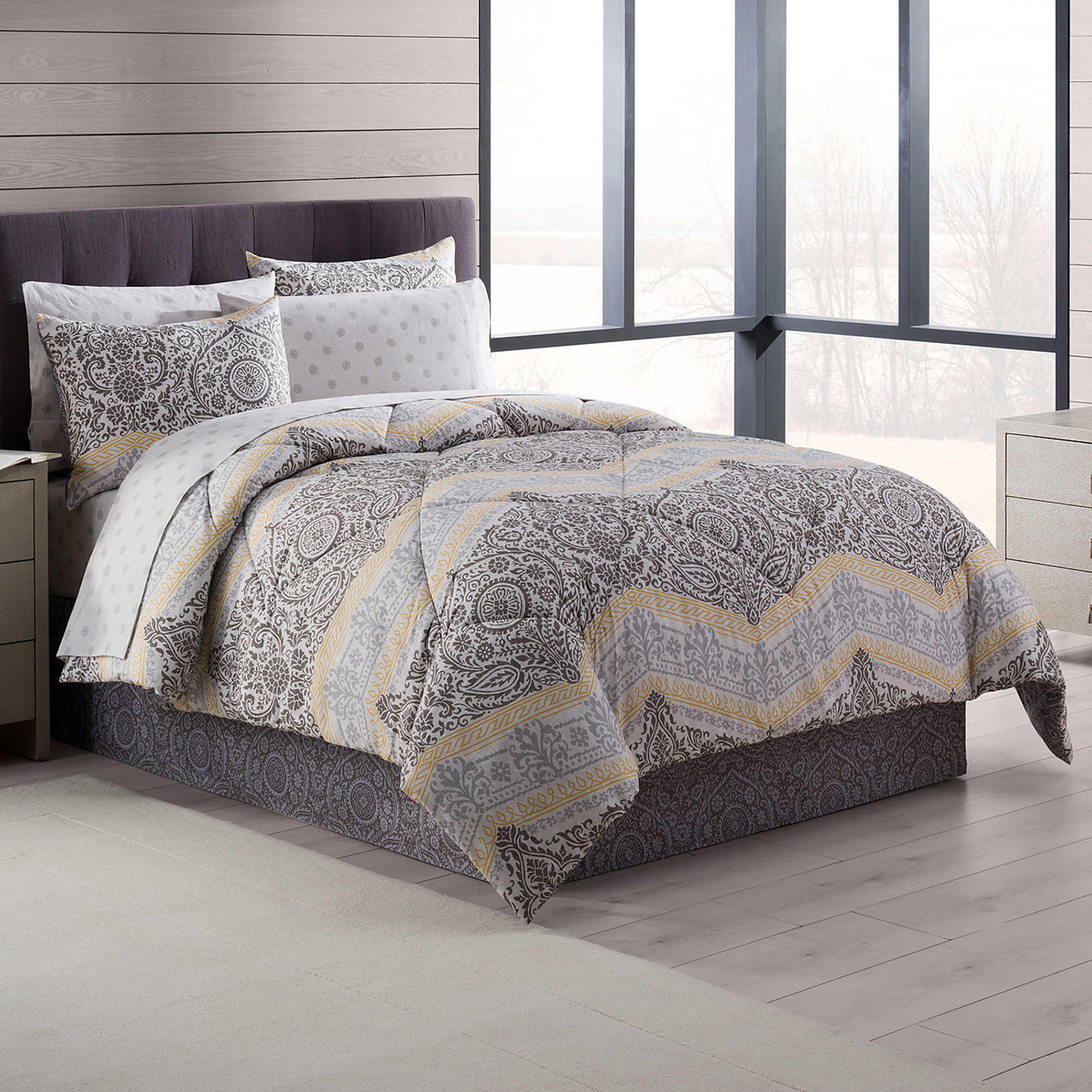Gray Bedding At Bed Bath And Beyond : Neville comforter set in grey yellow from bed bath beyond