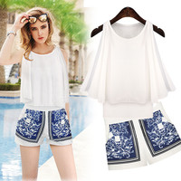 White Side Slit Overlay Swing Tank Top and Vintage Print Shorts