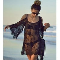fhotwinter19 Explosive hot sale perspective hollow lace strapless beach dress