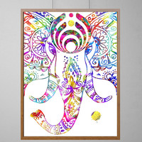 Bassnectar watercolor Elephant, Bassnectar Pink Elephants on parade watercolor print Basshead Basshead elephants poster [N317]
