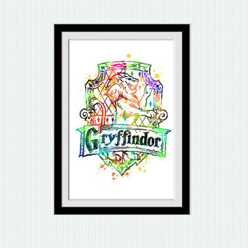 Watercolor Gryffindor crest print Colorful Gryffindor crest poster Harry Potter home decor gift Kids room decoration Wall hanging art  W149