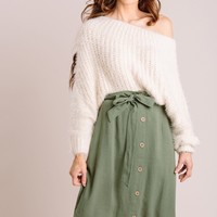Rosemary Button Midi Skirt