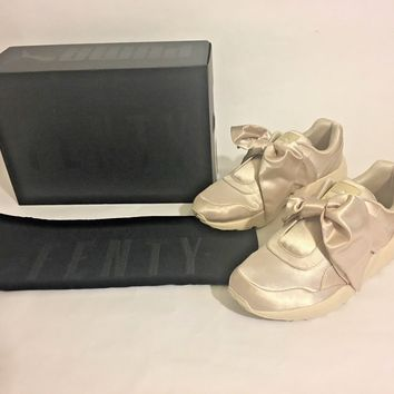 PUMA by Rihanna Fenty Bow Satin Women's Shoes Sneakers Light Pink Tint Beige NEW