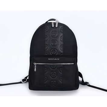 VERSACE MEN'S LEATHER BACKPACK BAG