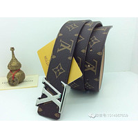 Men's LV Louis Logo Gold Brass Vuitton Brown Belt