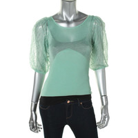 Catherine Malandrino Womens Pointelle Lace Sleeves Knit Top