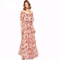 Off the Shoulder Printed Maxi Dress