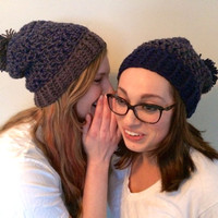 Best Friend Hats, Couples Hats, Navy and Gray, Crochet Set of 2