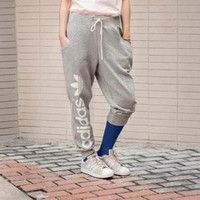 """Adidas"" Women Clover Letter Print Knit Casual Long Pants Systole Foot Sweatpants"