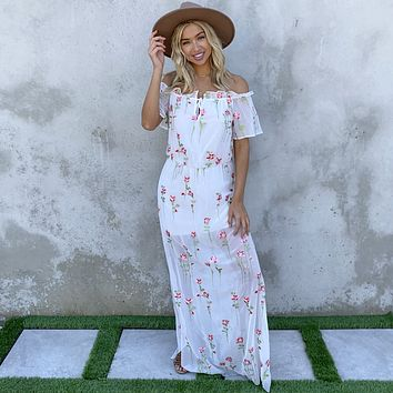Ever After Floral Embroider Maxi Dress