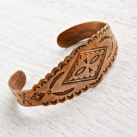 Vintage Copper Cuff Bracelet - 1970s Native American Style Embossed Tribal Costume Jewelry / Arrows & Feathers