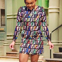 Fendi New fashion multicolor more letter print long sleeve dress women
