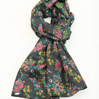 by (Oleel.Etsy) Scarf Vintage Roses Circles Print Long Scarf,Infinity Scarf, Fashion Scarves, Wide Scarf, Silk Scarf, Accessories, Boho Scarf,