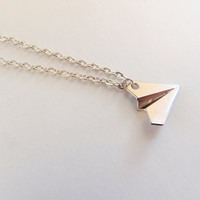Paper plane necklace, larry stylinson, paper airplane necklace, paper planes necklace, silver paper plane, gifts for her, birthday gift