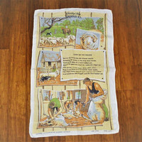 "Vintage 1980s Tea Towel ""Click Go The Shears"" / Retro Pure Linen Kitchen Cloth / Australiana Sheep Shearing Song"