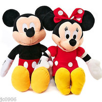 """DISNEY 17"""" MICKEY MOUSE & MINNIE MOUSE RED COMBO PLUSH TOY-LICENSED STUFFED TOY"""