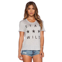 Grey Stay Wild Star Print Graphic Tee