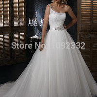 Wedding dress bandage oblique fluffy plus size sexy fashion romantic long bridal gown
