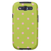 Acid Green And Pink Polka Dots Pattern Samsung Galaxy SIII Cover from Zazzle.com