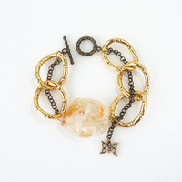 Chunky Citrine Bracelet with Big Gold Link Curb Chain and Butterfly Charm, Raw Stone Jewelry, November Birthstone
