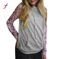 FEITONG Feamle Hoodies Sweatshirt Womens Raglan Hoodie Velvet Shirt Long Sleeve Tops Blusa Autumn Winter Hooded Jumper Pullover