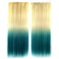 Wig Dyed Gradient Ramp Hair Extension   beige to lake blue