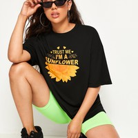 Slogan & Sunflower Print Tee
