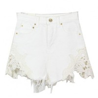 High Waist Wahsed Denim Shorts with Lace Edges