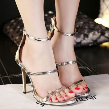 2017 Summer Sexy High-heeled Open-toed Women Sandals Fashion Hollow PU Female Sandals Black Silver High Heels Shoes Size 40 XP35