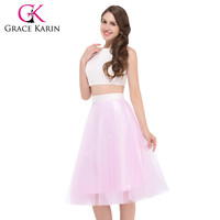 Grace Karin GK000027 2 two piece Short Prom Dresses Sexy Pink Lace Satin Party Gown Ceremony Christmas Gift Free Shipping