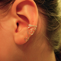 Ear Cuffs   Pair of Silver Plated Ear Cuffs with Swirls